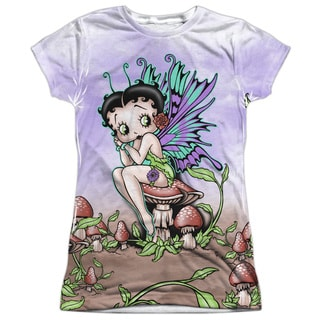 Betty Boop/Fairy Short Sleeve Junior Poly Crew in White
