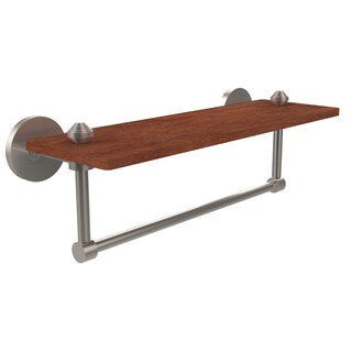 Allied Brass South Beach Collection Solid IPE Ironwood 16-inch Shelf with Integrated Towel Bar