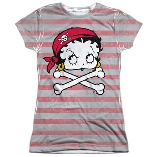Betty Boop/Rrrr Boop Short Sleeve Junior 100-percent Poly Crew in White