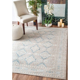 nuLOOM Traditional Ornamental Diamonds Taupe Rug (9' x 12')