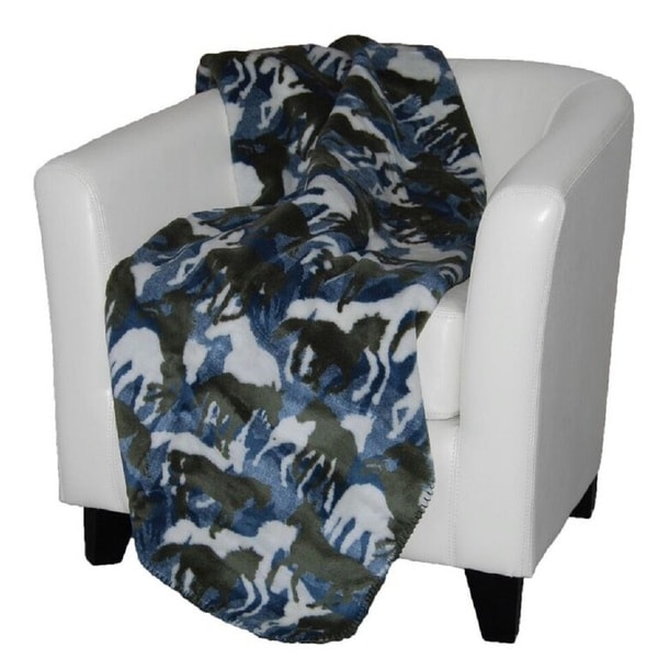 Denali Theme-o-horses/ Sage Throw Blanket