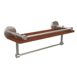 Allied Brass Prestige Skyline Collection 16-inch Ipe Ironwood Shelf With Gallery Rail and Towel Bar
