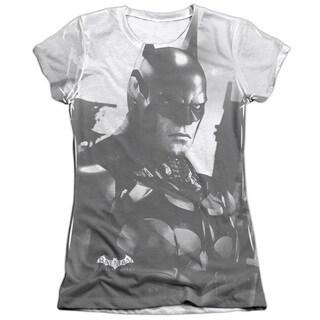 Batman Arkham Knight/Arkham Contrast Short Sleeve Junior Poly/Cotton Crew in White