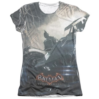 Batman Arkham Knight/Into The Night (Front/Back Print) Short Sleeve Junior Poly/Cotton Crew in White