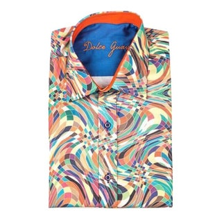 Dolce Guava Men's Multicolored Patterned Cotton Button-down Long-sleeve Shirt