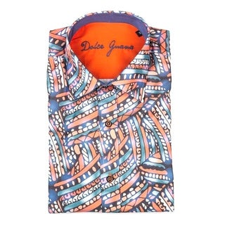 Dolce Guava Men's Multicolored Cotton Patterned Button-down Shirt