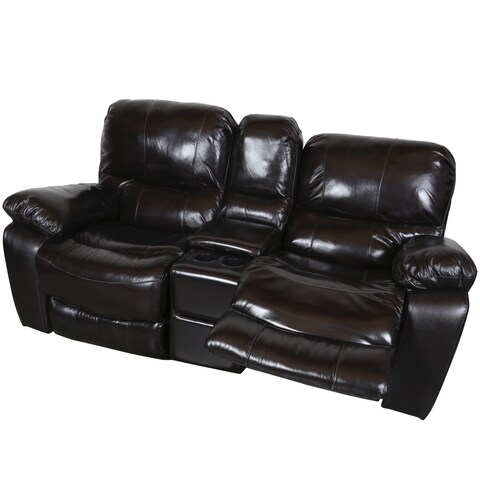 Porter Ramsey Black Cherry Top Grain Leather Gliding Reclining Loveseat with Center Console