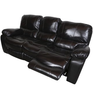 Porter Manchester Black Cherry Top Grain Leather Dual Reclining Sofa