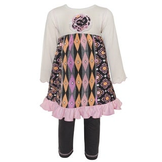 Ann Loren Girls' Boutique Medallion and Geometric Dress and Legging Set