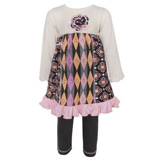 Ann Loren Girls' Boutique Medallion and Geometric Dress and Legging Set