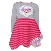 AnnLoren Girl's Boutique Grey/Pink/Purple/Yellow Cotton Floral Striped Hanky Dress