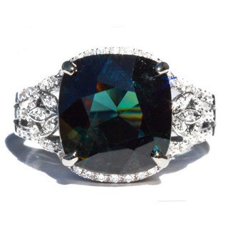 California Girl Jewelry 18k White Gold Greenish Blue Spinel and 2/5ct TDW Diamond Ring Size 6.5