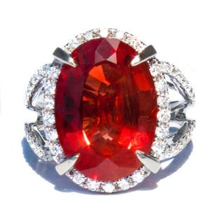 California Girl Jewelry 18k White Gold Red Oregon Sunstone and 3/5ct TDW Diamond Ring Size 6.5 (G, VS)