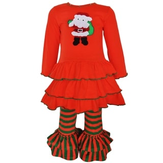 AnnLoren Girls' Boutique Red and Green Cotton Santa Christmas Holiday Outfit