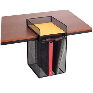 Onyx Black Metal Mesh Vertical Hanging Desk Storage