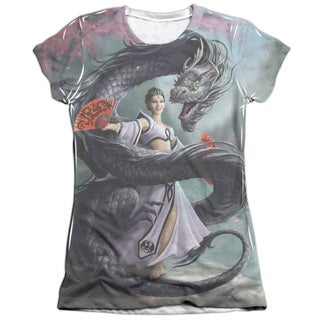 Anne Stokes/Dragon Dancer (Front/Back Print) Short Sleeve Junior Poly/Cotton Crew in White
