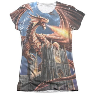 Anne Stokes/Dragon's Fury Short Sleeve Junior Poly/Cotton Crew in White