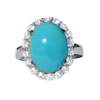 California Girl Jewelry 18k White Gold Sleeping Beauty Turquoise and 1 1/10ct TDW Diamond Ring