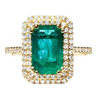 California Girl Jewelry 18k Yellow Gold Emerald and 7/8ct TDW Diamond Ring (H-I, SI1-SI2)