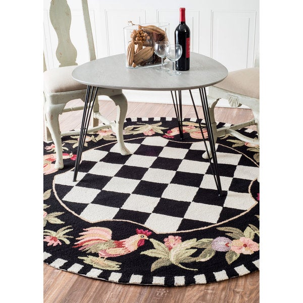 Havenside Home Henderson Hand-hooked Moroccan Rooster Checkered Wool Area Rug - 8' Round