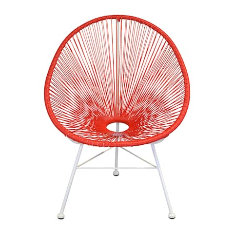 Handmade Acapulco White Legs Woven Indoor/ Outdoor Lounge Chair (India)