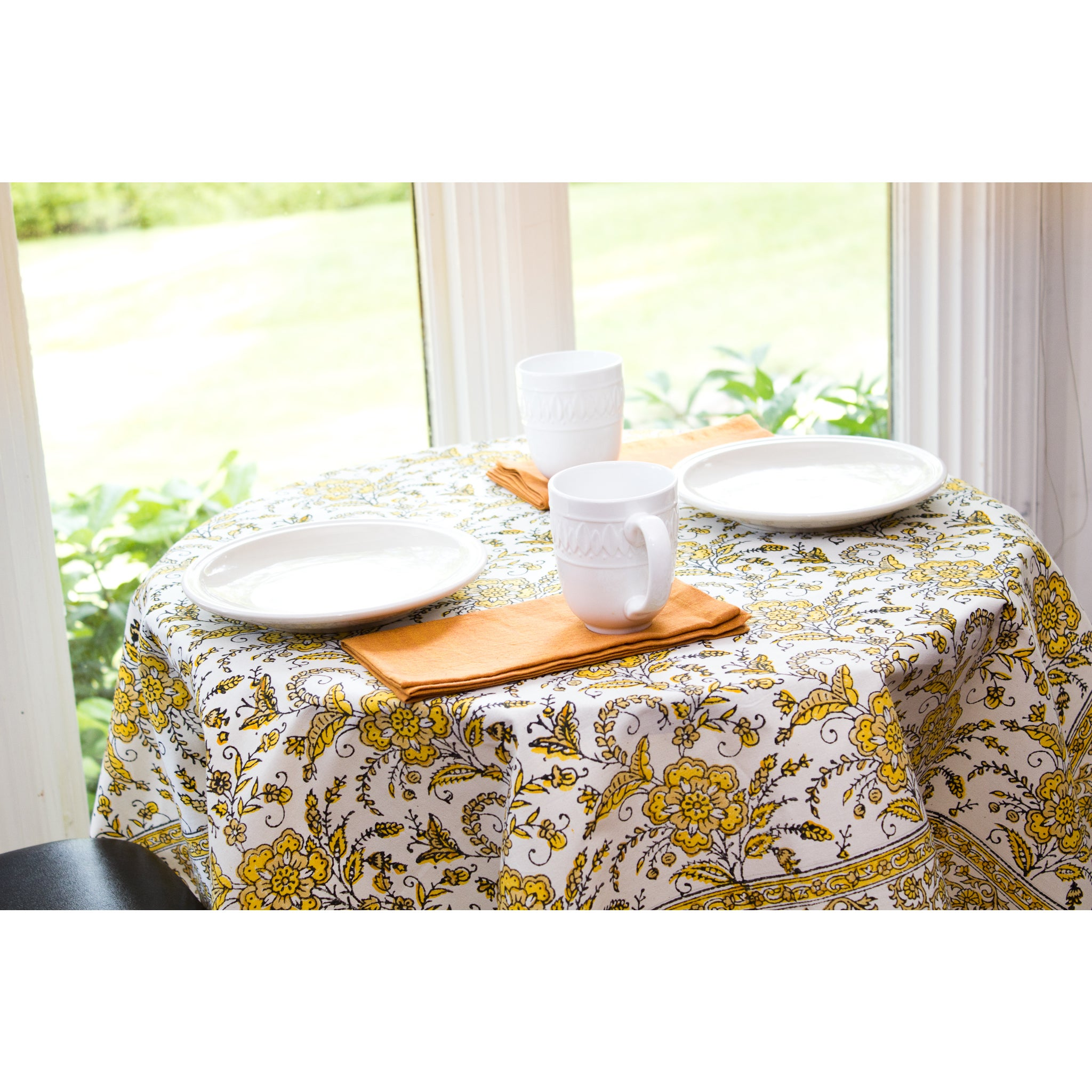 Sustainable Threads Handmade Golden Flora Table Cloth (In...