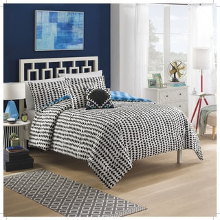 Vue Zazu Blue and Black Tribal 5-piece Reversible Cotton Comforter Set