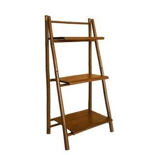 Zew Handcrafted Espresso Bamboo 3-tier Shelf