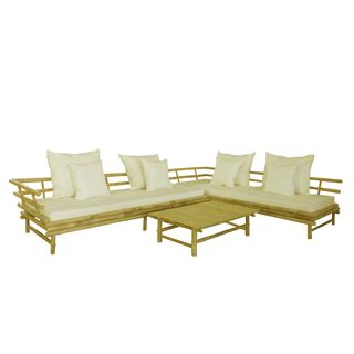 Zew Handcrafted Modern Contemporary Casual White Bamboo Sectional with Table
