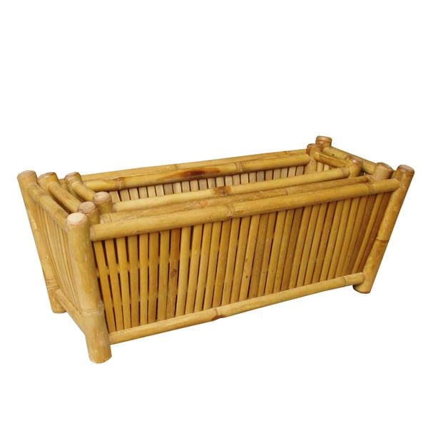 Zew Handcrafted Outdoor Bamboo Planters (Pack of 3)