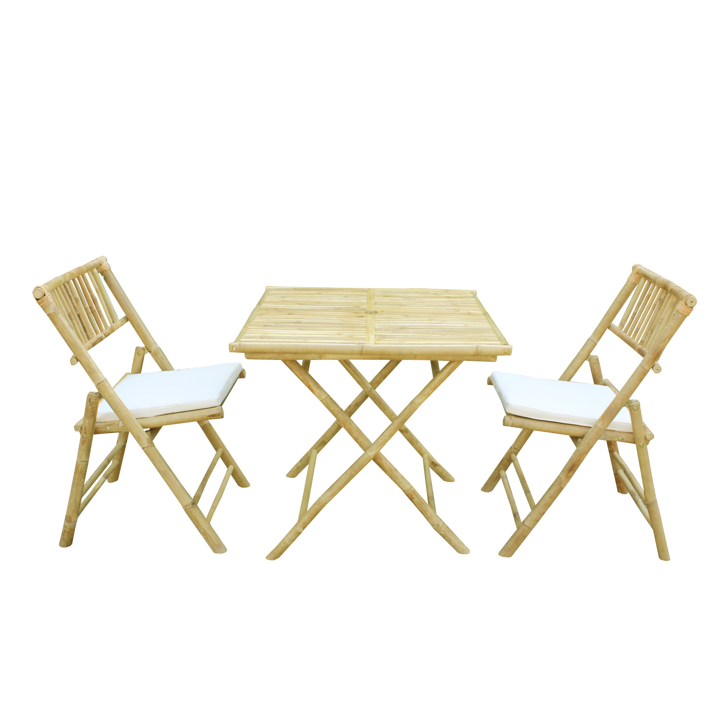 Bamboo 3-piece Handcrafted Square Patio Set (Patio Set), ...