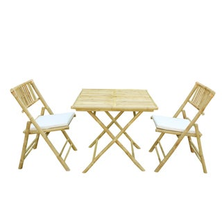Bamboo 3-piece Handcrafted Square Patio Set