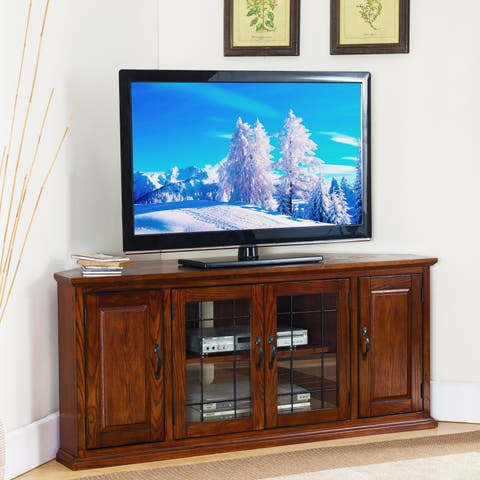 Burnished Oak-finish Wood and Leaded Glass 56-inch Corner TV Stand