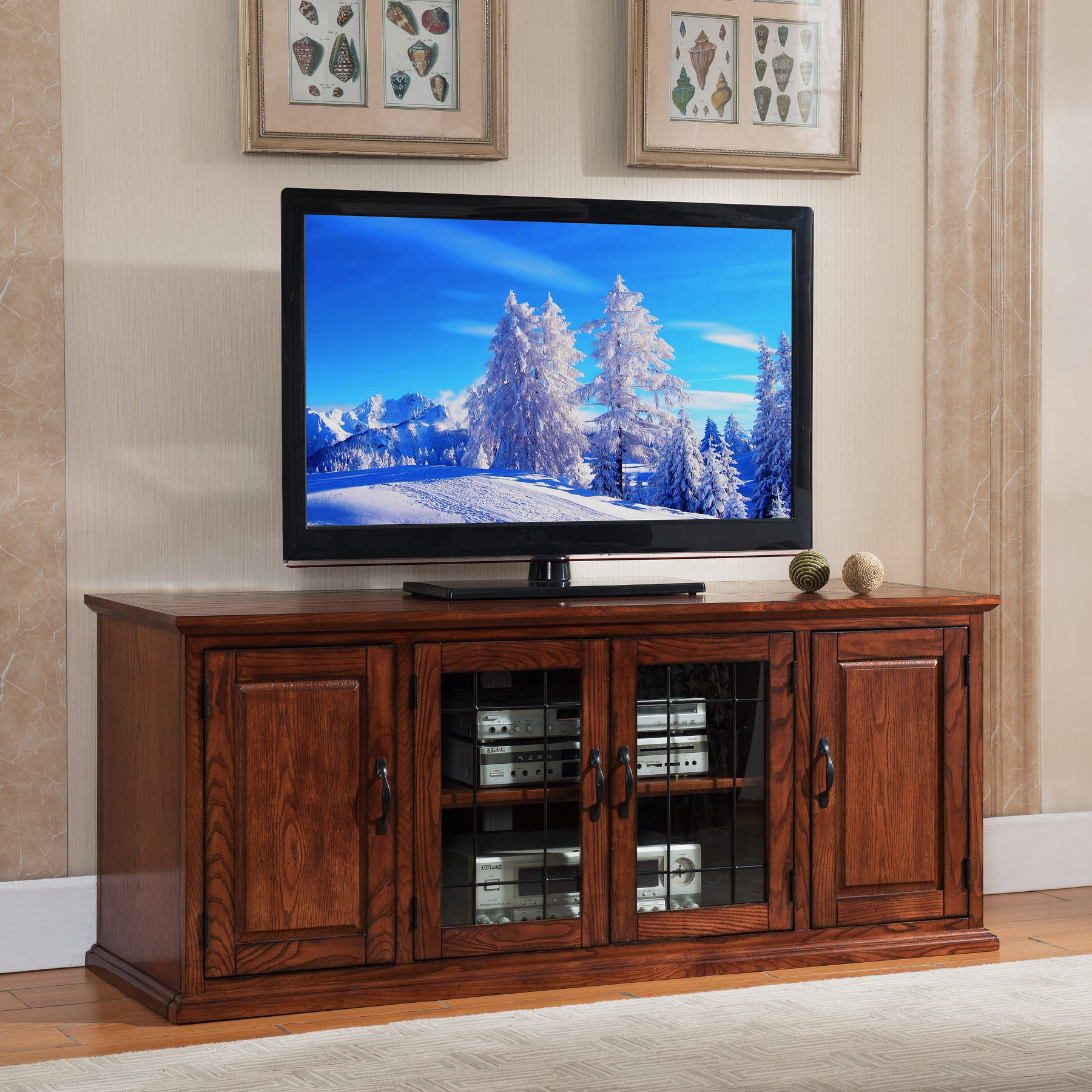 Shop Kd Furnishings Oak Finish Wood Glass 60 Inch Tv Stand Free