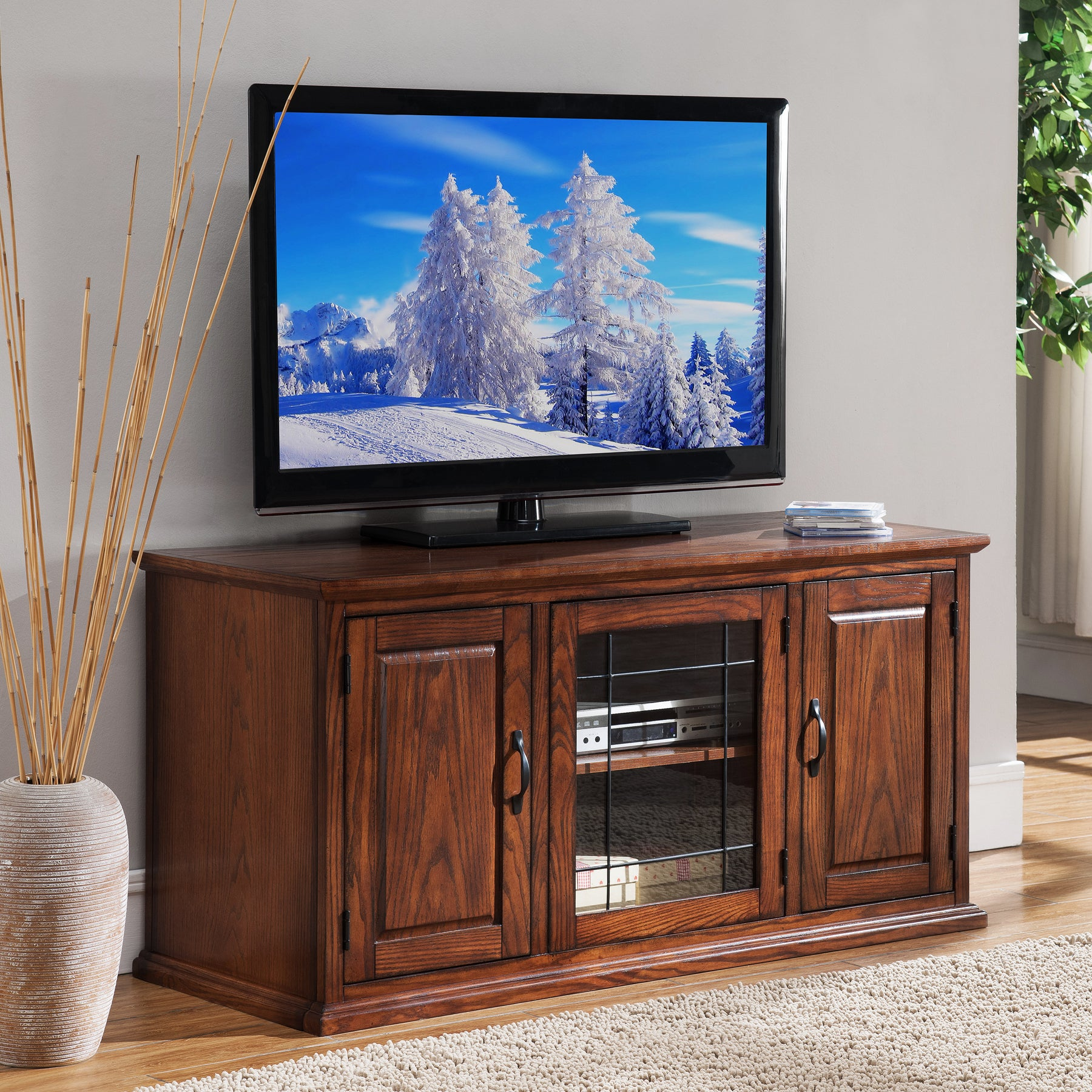 Shop Oak Wood Glass 50 Inch Leaded Tv Stand Free Shipping On