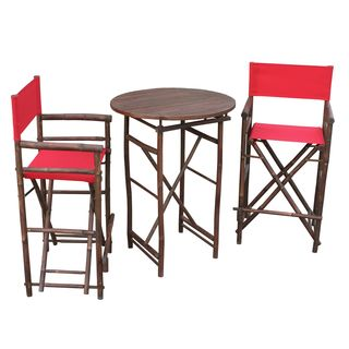 Zew Espresso Wood Handcrafted Round Bar Height Pub Set
