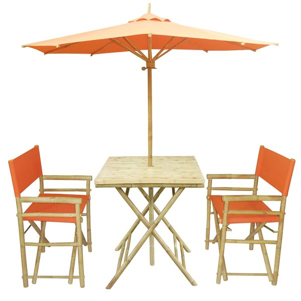 Bamboo Patio Set Of 2 Director Chairs And Square Table With Matching Umbrella