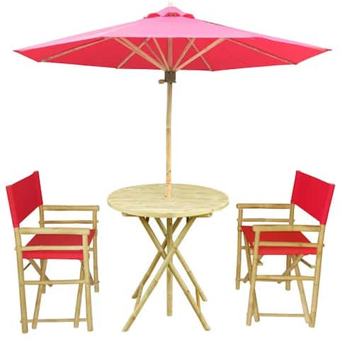 Bamboo Patio Set Of 2 Director Chairs And Round Table With Matching Umbrella
