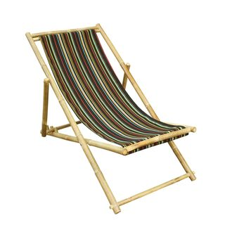 Zew Handcrafted Foldable Bamboo Sling Lounge Patio Chair