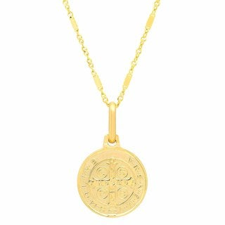 Sterling Essentials Italian 14K Gold 12 mm San Benito Medal Necklace ( 18 Inch )