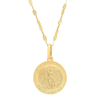 Sterling Essentials Italian 14K Gold 15 mm Saint Michael Medal Necklace ( 18 Inch )