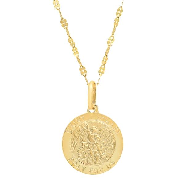 Sterling essentials italian 14k gold 15mm saint michael medal sterling essentials italian 14k gold 15mm saint michael medal necklace aloadofball Image collections