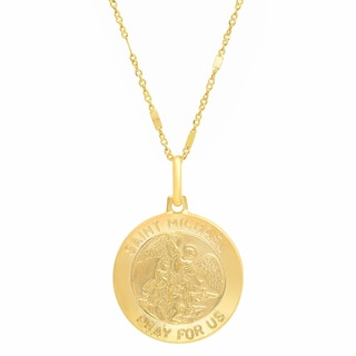 Sterling Essentials Italian 14K Gold 18 mm St. Michael Medal Necklace ( 20 Inch )