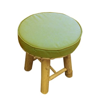 Zew Handcrafted Bamboo Round Accent Coffee Table with Cushion