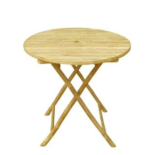 Zew Handcrafted Round Bamboo Table