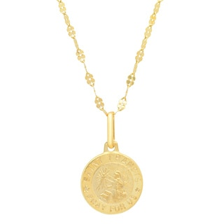 Italian 14K Gold 12 mm St. Francis Medal Necklace ( 16 Inch )