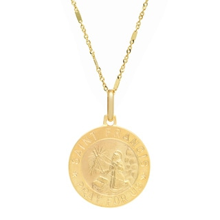 Sterling Essentials Italian 14K Gold 18 mm St. Francis Medal Necklace ( 20 Inch )