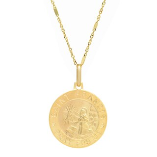 Sterling Essentials Italian 14k Yellow Gold St. Francis Medal Necklace