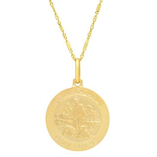 Sterling Essentials Italian 14K Gold 18 mm St. Lazarus Medal Necklace ( 20 Inch )