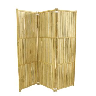 Zew Brown Bamboo Panel Screen Room Divider